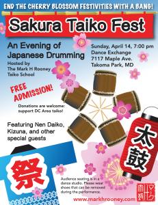 Sakura Taiko Fest: April 14, 7:00 pm