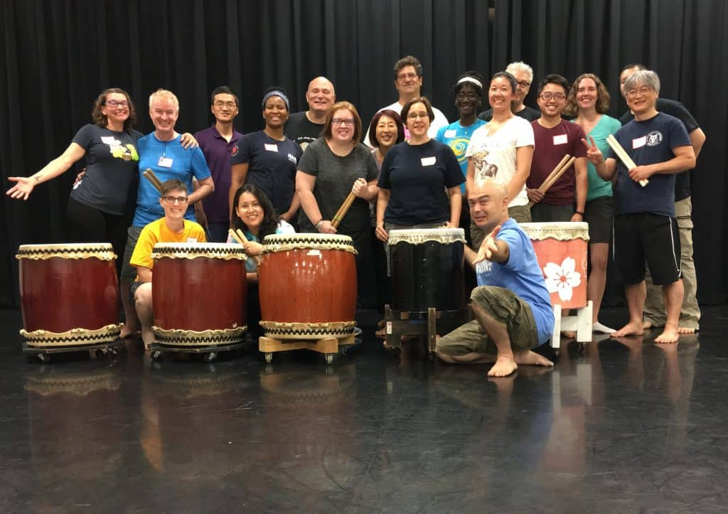 Linda and fellow taiko players at a 2019 workshop