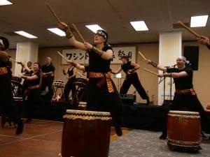 Miyako Taiko players perform Ryujin Daiko at the ShinShun Matsuri