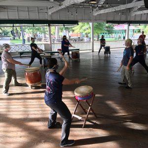 Glen Eco Park Drummers with Masks
